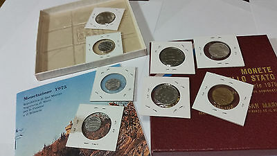 SAN MARINO 1975 AMAZING 8 ANIMAL Mint SET WITH SILVER COIN, BOOKLET & ORIG BOX