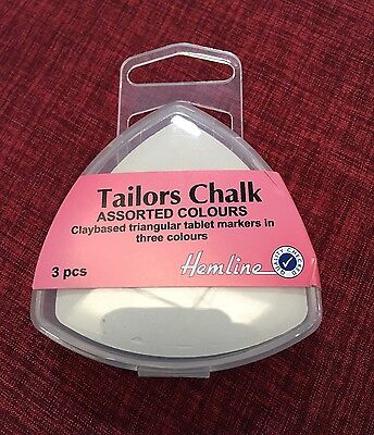 Tailor's Chalk Pack of 3 ~ In Sturdy Plastic Box to prevent Breaking~Dressmaking