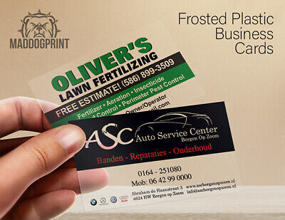 1000 Full Color Frosted Plastic Business Cards - FREE Design & Fedex Shipping!