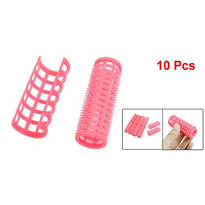 New Hot Sale 10 Pcs Lady Pink Plastic Magic Circle Hair Styling Roller Curler SP