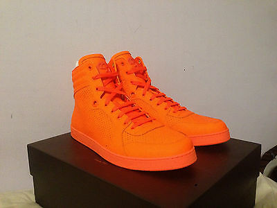 a10cf7f6e5a Gucci Orange Neon Leather High Hi-Top GG Logo Sneakers Shoes 100% AUTHENTIC  NEW