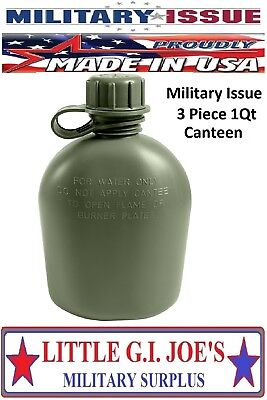 (1) USMC & ARMY NEW US Military Issue Plastic 1Qt Canteen 3Pc OD Green U.S.A.605