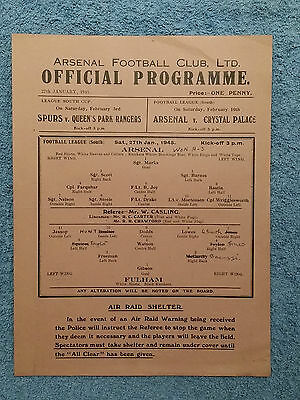 1945 - ARSENAL v FULHAM PROGRAMME - Football League South - Superb Condition