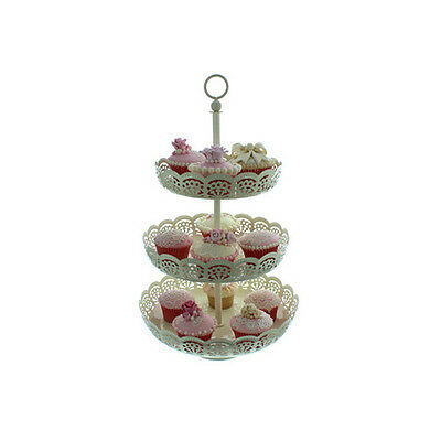 3 Tier Ivory Cream Metal Cake Lace Cupcake Display Stand