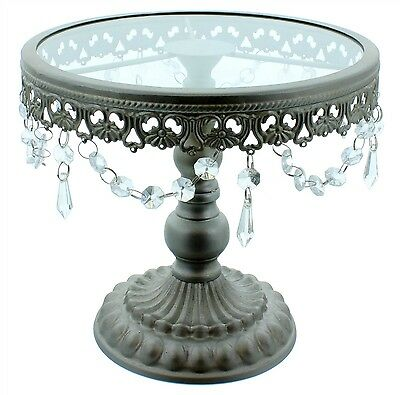 9.5 Inch Silver Shabby Chic Cake Stand