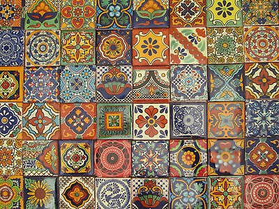 "80 MEXICAN TALAVERA TILES 2X2 ASSORTED DESIGNS 2 X 2"" mixed patterns"