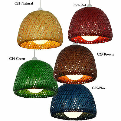 Wicker Double Dome Bamboo Lampshade Pendent Lamp Shade Retro Choice of Color