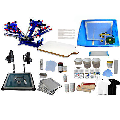 4 Color Screen Printing Press Kit Include Exposure Unit /Squeegee/Pigment/Screen