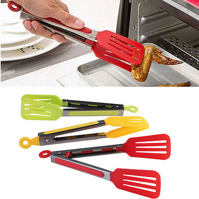 Silicone Stainless Steel BBQ Cooking Food Salad Serving Tong Kitchen Utensil NEW