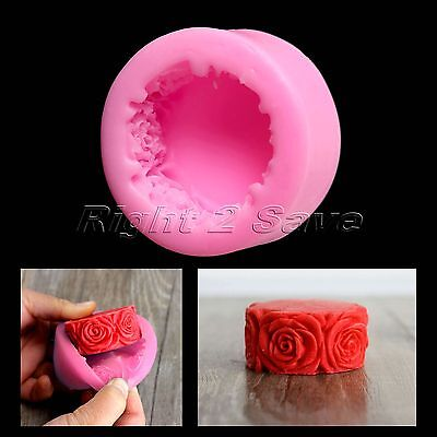 Silicone Barrel 3D Rose Flower Chocolate Fondant Cake Candle Soap Mold Mould DIY
