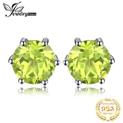 JewelryPalace Natural Round Peridot Earrings Stud Solid 925 Sterling Silver New
