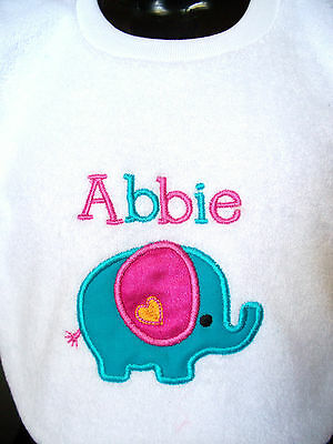 Personalised Mother/'s Day Embroidered Baby Pull-Over Bib Gift Elephants