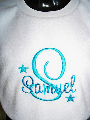 Personalised Baby Bib Embroidered GIFT New Baby/ Twins/ Christening/Name Day