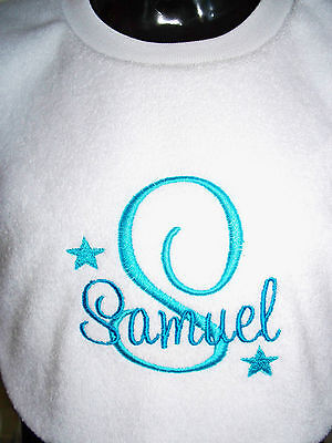 Personalised Baby Bib Embroidered New Baby/ Twins/ Christening/Name Day Gift