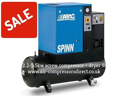 ABAC Screw Air Compressor Spinn E 2.2-5.5kw inc dryer, Tank 200L inc vat