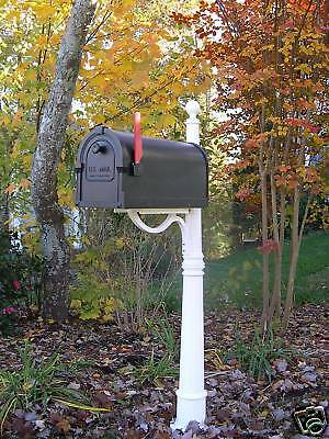 White Cast Aluminum Post with black mailbox - Beautiful
