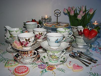 Job Lot 8 Vintage China Non Matching Sets Tea Cups & Saucers - Parties