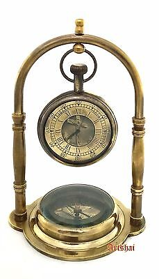 Artshai Antique look Jesus Table Clock made from brass with magnetic compass