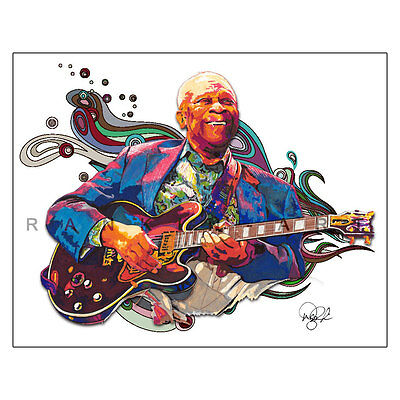 "BB King B.B. Soul Blues Guitar Lucille 11x14"" Music Art Print Poster"