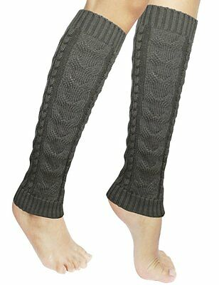 NEW Dahlia Women's Cable Knit Leg Warmers GRAY