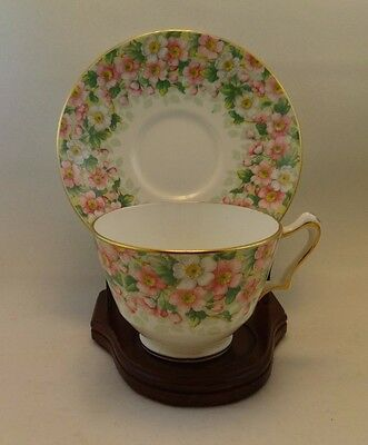 Crown Staffordshire Fine Bone China Maytime chintz teacup and saucer