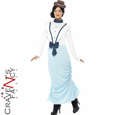 Adult Posh Victorian Lady Costume Ladies Fancy Dress Outfit Mary UK 8-22 New