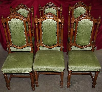Set of 6 Antique French Renaissance Dining Chairs with Green Upholstery