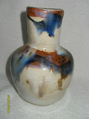 Vintage Hand Made And Hand Painted Heavy Clay  Vase - Signed