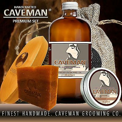 Hand Crafted Caveman® Beard Oil KIT + Beard Balm + FREE Brush+ Soap + 15 Scents