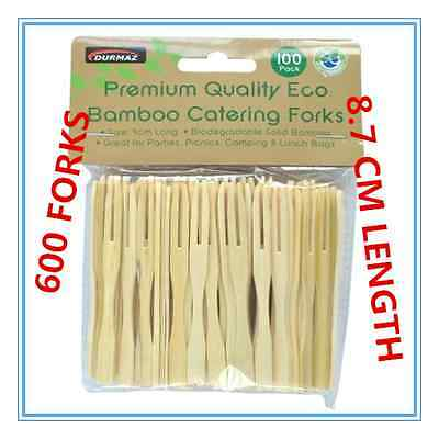 600 x BAMBOO CATERING FORKS DISPOSABLE STICKS PICK COCKTAIL FINGER FOOD BBQ