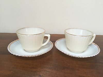 MacBeth Evans PETALWARE Cremax with Gold Trim Footed Cup & Saucer ~ Set of 2
