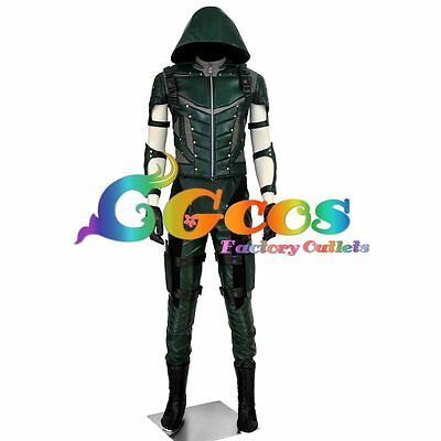 Cosplay Costume Green Arrow Season 4 Oliver Queen Unifom with Boots Cover