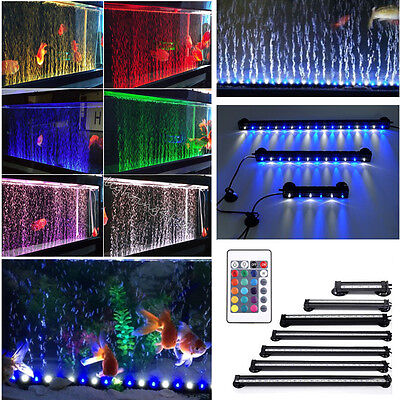 Remote Color Changing LED SMD Aquarium Fish Tank Light Submersible Air Curtain