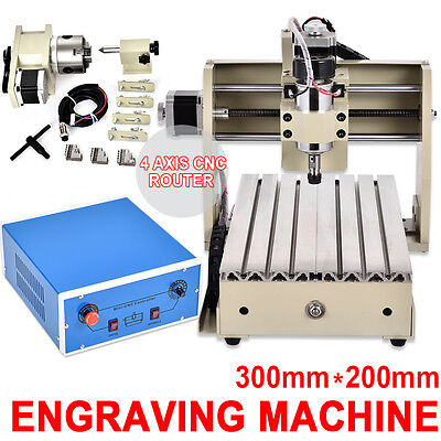 4 Axis 3020 CNC ROUTER Engraver Drill Engraving Milling Machine 3D Cutter+Mach3