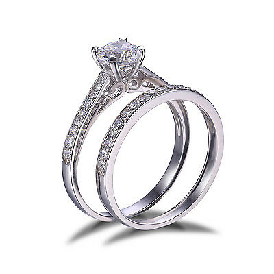 JewelryPalace CZ Engagement Wedding Bridal Ring Set Solid 925 Sterling Silver