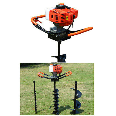 52cc Petrol Earth Auger 3HP Post Hole Borer Ground Drill w/ 3 Bits Easy to Use