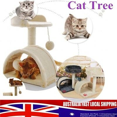 Cat Scratching Post Tree Gym House Scratcher Pole Furniture Bed Toy 2 Level AU