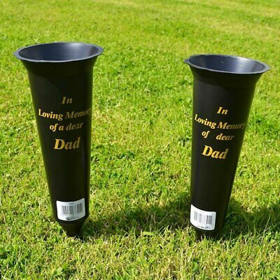 Set of 2 Dad In Loving Memory Spiked Memorial Grave Flower Vases Holder