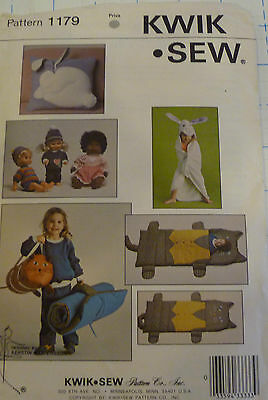 Kwik Sew 1179 Childs Sleeping Bag Towel Doll Clothes Sz 12-14-16-18""