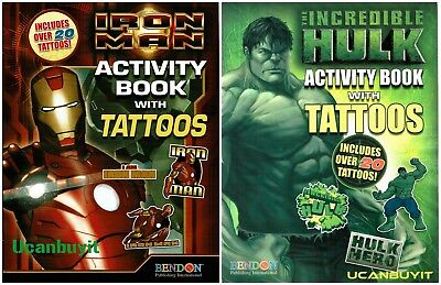 THE INCREDIBLE HULK Children's Activity & Coloring Book Includes 20+ Tattoos New