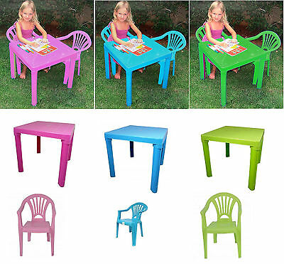 Children's Plastic Stackable Garden Table & Chairs Indoor outdoor SeatTable kids