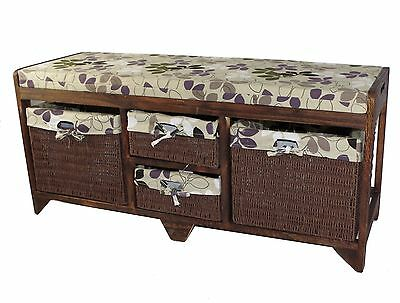 Wooden Storage Bench 2 Large + 2 Small Seagrass Baskets Leaf Seat Cushion D03