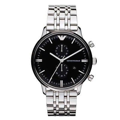 Emporio Armani Silver / Black Quartz Analog  Men's Watch AR0389