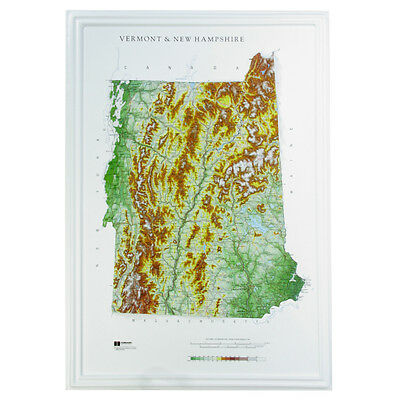 Hubbard AMEP New Hampshire/Vermont Raised Relief Map Raven Style- unframed