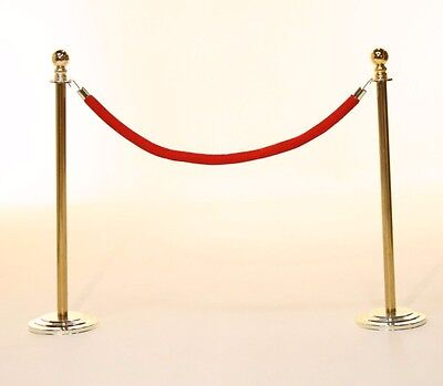 Pair Gold Stanchion Poles with Red/Black Velvet Rope (BALL TOP, DOME BASE)