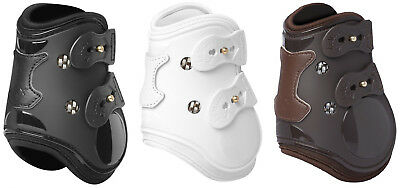 LeMieux TEKNIQUE FETLOCK Leather Gel Lined ShowJumping Boots Black/Brown/White