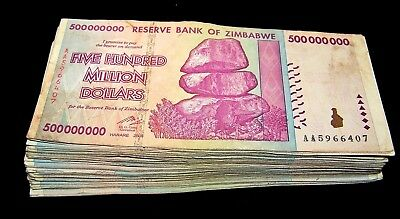 25 x Zimbabwe 500 Million Dollar banknotes- AA/AB 2008 / circulated currency