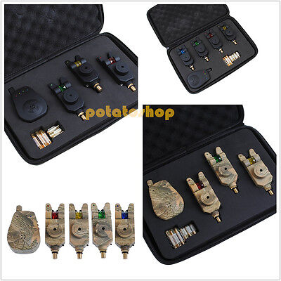 Set 3 / 4 Wireless Mag Roller LED Bite Alarms, Receiver with Case Carp Fishing