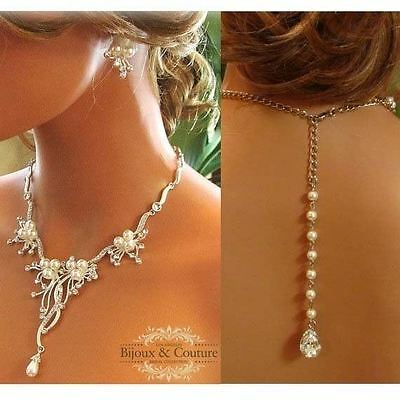 Crystal Bridal Backdrop Necklace & Earrings Wedding Jewelry Set