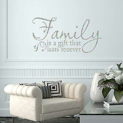 Family is a Gift Quote Glitter Sparkly Wall Decal Sticker Vinyl Wall Art